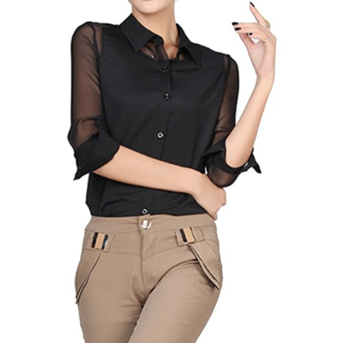 ELLAZHU Damen Stehkragen Chiffon transparent Langarmbluse Shirt GH08(schwarz,M)