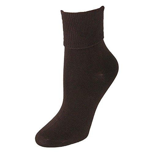 Jefferies Socks Women's Organic Cotton Turn Cuff Socks, Chocolate -