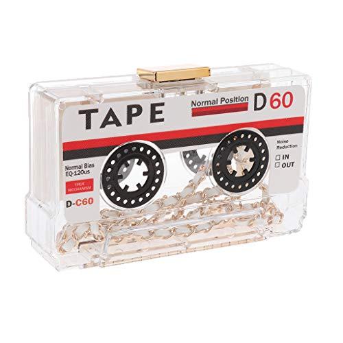 Damen Clutch Tape Box Abendtasche Handtasche Geldbörse Kettentasche Umhängetasche Schultertasche - Klar
