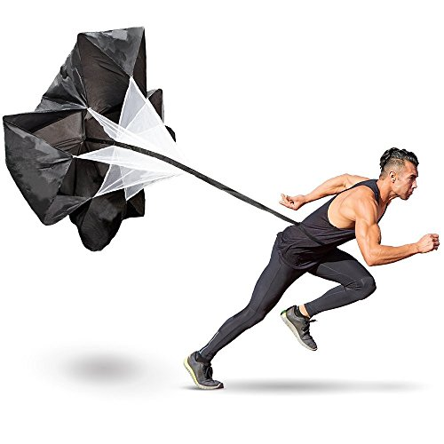 Running speed training, middletone 142,2 cm speed training resistance parachute umbrella running chute & fitness explosive power training (nero)