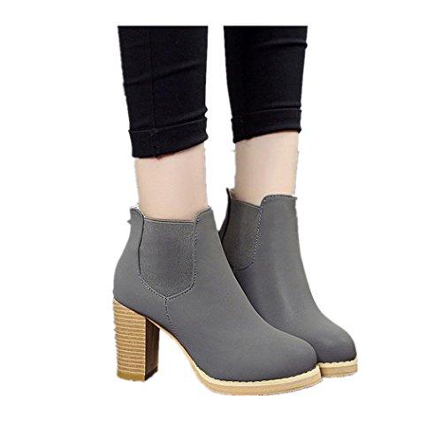 Stiefel Damen Clode® Damen Stiefel Winter Warm Runde Kopf Leder Stiefeletten High Heel Boots Grau