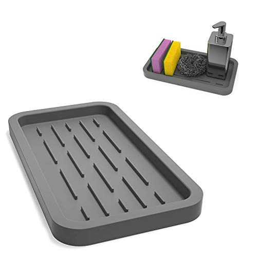 Aseem Multipurpose Use Silicone Kitchen Sink Organizer Tray (Small; Grey)