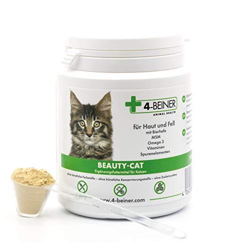 4-Beiner BEAUTY-CAT - glänzendes Fell, Vitamine für Katzen mit Omega 3, MSM, Vitamin B Komplex, Vitamin C, Biotin, Mariendistel, Bierhefe, Zink, Selen etc., 90 g Pulver für Katzen -