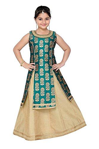 baby lehenga choli(TexStile Green Colour jacquard silk Designer Baby Indowester _Baby_Green_indo)