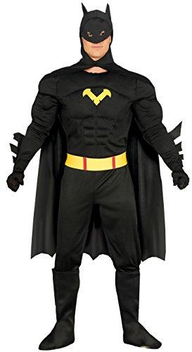 (Schwarzer Superheld Karneval Fasching Kostüm für Herren Fledermaus Schwarz M-XL, Größe:L)