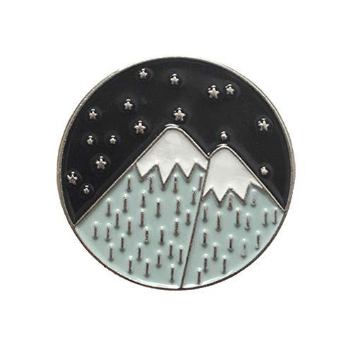 wonCacrostrans Unisex Brosche, Cartoon Runde Berg Mond Sterne Emaille Brosche Pin Kleidung Rucksack Abzeichen Decor 2# (Berg-mann-kleidung)