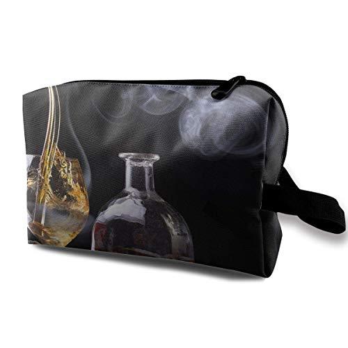 With Wristlet Kosmetiktaschen Whisky Drink Travel Portable Makeup Bag Zipper Wallet Hangbag makeup holder -