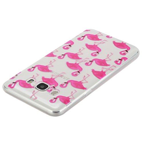 LOOKAY Coque Galaxy J5 2016,Etui Ultra Mince Housse Silicone Transparent pour Samsung Galaxy J5 2016 Coque de Protection en TPU avec Absorption de Choc Bumper et Anti-Scratch, Plume colorée Flamingos