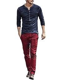 fb7377a1d39e Herren Langarm Henley Shirt Slim Fit Longsleeve Pullover Grandad-Ausschnitt  Basic Unterhemd Freizeit Mode T