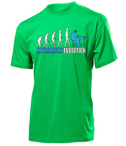 Keyboarder Evolution 4593 Herren T-Shirt (H-Kellygreen-Weiss-Blau) Gr. M