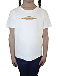 Wild Country Blanco Algodón Niña Niños Camiseta Manga Corta Cuello Redondo Mangas White Girls Kids T-shirt