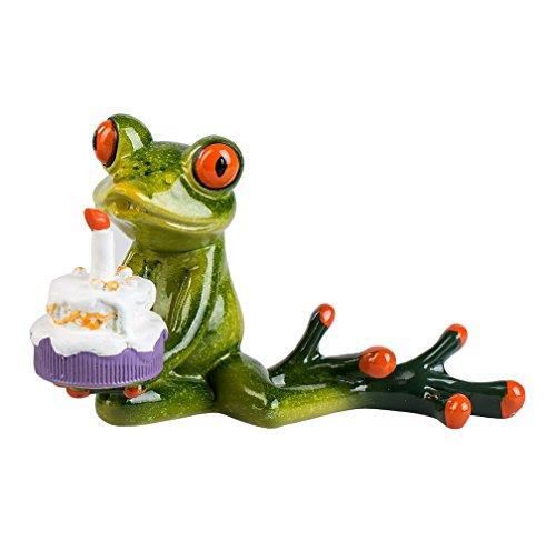 Frosch mit Kuchen Torte Party Kröte Lurch Deko Tier Figur Skulptur Froschkönig -