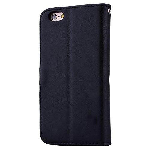 iPhone 6/6S Cover PU Pelle, SMARTLEGEND Morbida Alta Qualità Leather Portafoglio Custodia con Ricamo Fiore Design, Supporto Funzione Protettiva Chiusura Magnetica Wallet Case per Carte di Credito Rega Nero