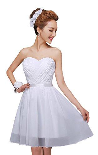 drasawee robe bustier courte en mousseline de soie robe de soirée Junior Homecoming robes Blanc