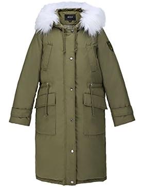 lime Ocio verde con capucha cremallera abrigo invierno cálido a prueba de viento capa gruesa mujeres cómoda capa...