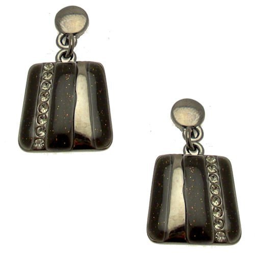 Black Diamond-Acosta & scintillante con cristalli, smaltati, colore: nero, motivo: Abstract-Orecchini pendenti quadrati