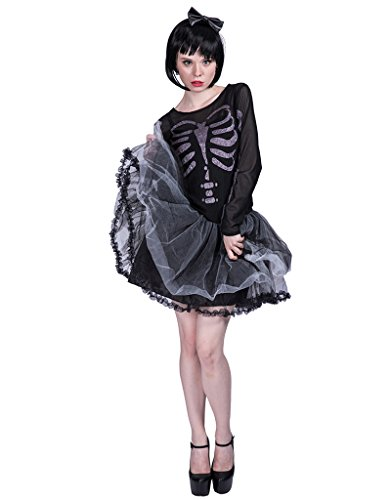 EraSpooky Damen Skelett Kostüm Halloween Knochen Party Kleid