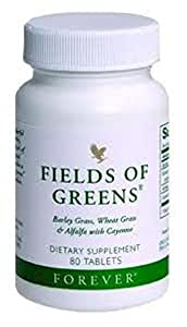 Forever Living Fields Of Green Tablets (Barley Grass, Wheatgrass, Alfalfa, Cayenne, Honey) 80 Tablets