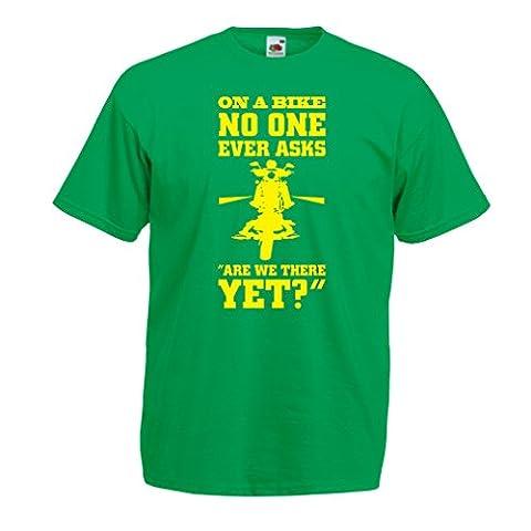 N4684 T-shirt pour hommes On a Bike ... - biker wear (X-Large Vert Multicolore)