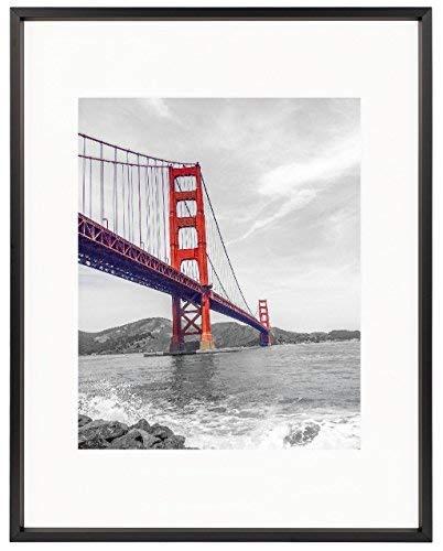 frametory, Metall Bilderrahmen Collection, 11x 14Aluminium silber Bilderrahmen mit elfenbeinfarbenem Farbe Matte für 8x 10Bild und echtes Glas (schwarz) (Metall-bilderrahmen 14 X 11)