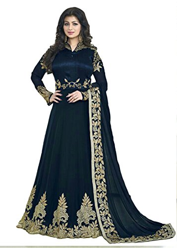Designer Deck Graceful Floor Length Dress - Stylish Semistitched One Piece - Indian Ethnic Anarkali Gown in Bollywood Style - Blue  available at amazon for Rs.1299
