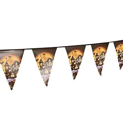 YWLINK Halloween Wimpeln Girlande,Wimpelkette Stoff,Holiday Indoor Im Freien FüR Party, Garten, Bar, Laden, Cafe Dekoration(D,28*19cm)