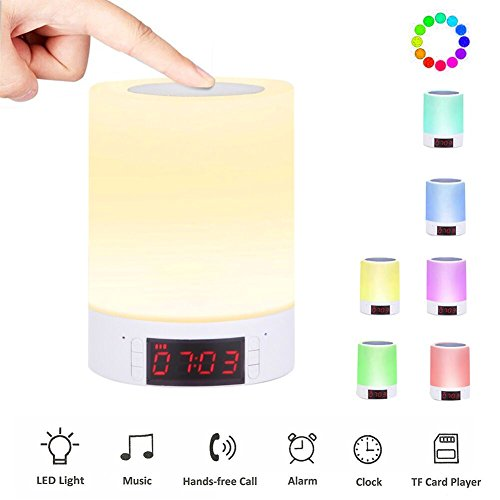 Preisvergleich Produktbild Kainuoa Lichtwecker Bluetoothlautsprecher Nachtischlampe Touch LED Nachtlicht Digitale Wecker Kinderwecker Stimmungslampe Dekolicht