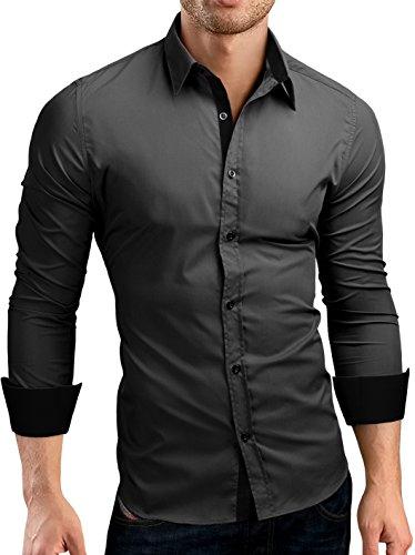 Grin&Bear Slim Fit Kontrast Hemd Herrenhemd, Langarm, Dunkelgrau-Schwarz, L, SH510