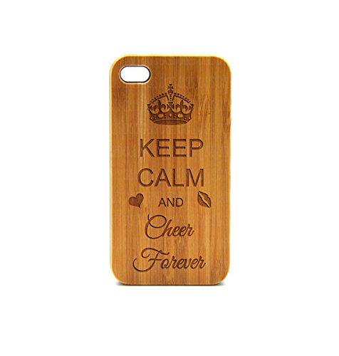 krezy Coque Étui iPhone 6en bois véritable, Keep Calm and Cheer Yeux Forever iPhone 6cas, iPhone 6cas, iPhone Étui en bois,