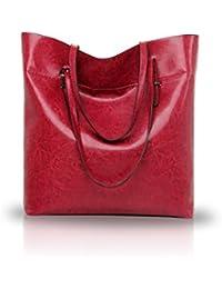Nicole&Doris Women's Handbags Ladies Tote Large Capacity Shopping Bags Pu Top-Handle Fashion Shoulder Red