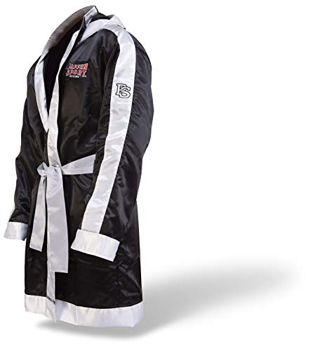 (Paffen Sport Boxermantel mit Kapuze – schwarz/weiß – Größe: S)