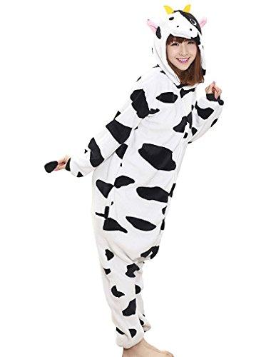 Kuh Ganzkörper Tier-Kostüm für Erwachsense - Plüsch Einteiler Overall Jumpsuit Pyjama Schlafanzug - Schwarz/Weiß - Gr. M (Kostüm Kühe)
