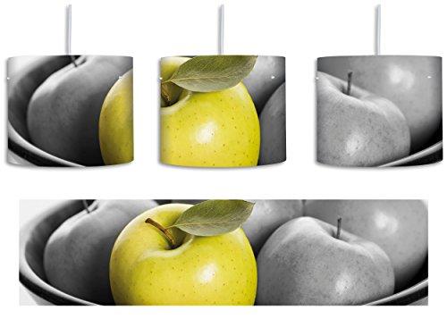 Apple Apfel Korb mit grünen Äpfeln schwarz/weiß inkl. Lampenfassung E27, Lampe mit Motivdruck, tolle Deckenlampe, Hängelampe, Pendelleuchte - Durchmesser 30cm - Dekoration mit Licht ideal für Wohnzimmer, Kinderzimmer, Schlafzimmer (Apple-geschenk-korb)