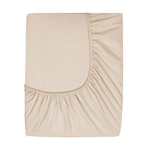 Comfy Basics Prime Deep Pocket Spannbetttuch-Gebürstet Samtige Mikrofaser-Atmungsaktiv, Extra Weich und Bequem, Winkle, verblassen, schmutzabweisend, Mikrofaser, Beige, King Size Pocket Bottoms Jeans