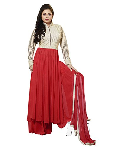 7thwonder Red & Cream Color Party Wear Embroidered Georgette Semi-Stitched Anarkali Suit-7WH7DL20SH  available at amazon for Rs.1749