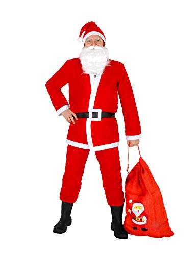 Ciao 25010-Navidad Papá Noel con saco de yute, rojo/blanco, talla única Hombre (talla única) Unica rojo/blanco