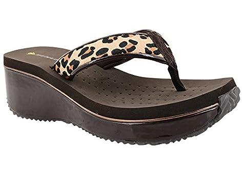 Dunlop Raffia, Ouvertes à l'arrière femme - noir - brown/leopard, 35.5