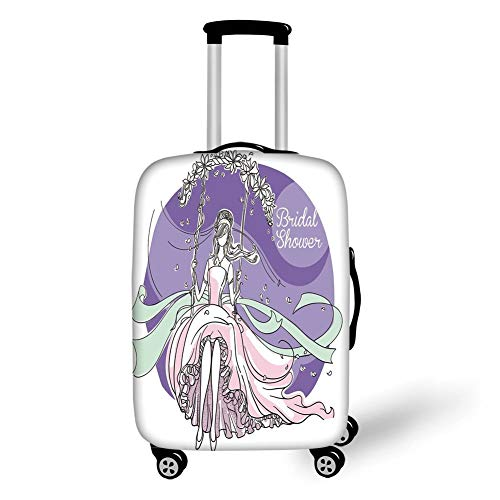 Travel Luggage Cover Suitcase Protector,Bridal Shower Decorations,Bride Party Themed Image with Swings Florals Image,Purple and Light Pink,for Travel,S