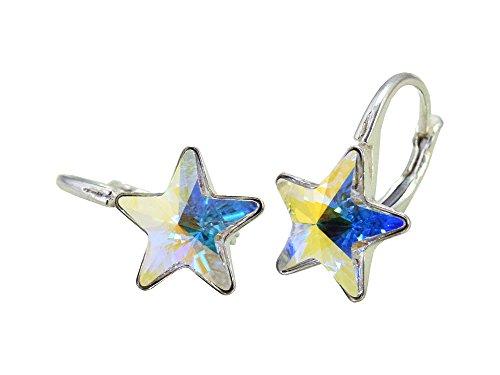 Crystals & Stones *STERN* 6 Farben - Schön Ohrringe Mädchen Ohrhänger mit Kristallen von Swarovski Elements - Wunderbare Ohrringe mit Schmuckbox (Crystal AB)
