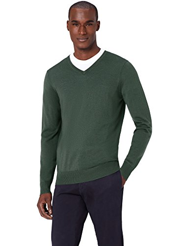 MERAKI Merino Pullover Herren mit V-Ausschnitt, Grün (Khaki), Large (Khaki Grün)