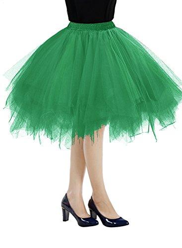 Bbonlinedress Kurz Retro Petticoat Rock Ballett Blase 50er Tutu Unterrock Dark Green