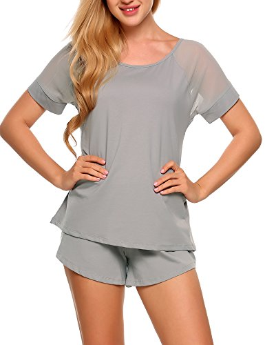 Ekouaer Damen Schlafanzug Hausanzug Patchwork O-Ausschnitt Kurzarm Tops mit elastischen Taille Shorts pyjama Nachtwäsche Sets (Schlafanzug Kurzarm)