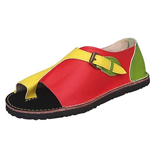 COZOCO Frauen Römischen Stil Schuhe Weiche Komfortable Freizeit Wohnungen Mode Sandalen Schnalle Flache Strand Sandalen(gelb,37 EU)