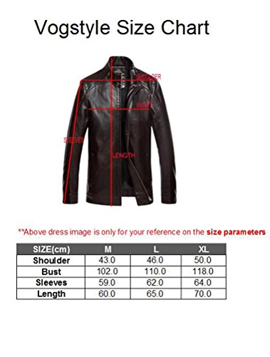 Vogstyle Hommes Veste Fit Basic Biker Cuir Style-10 Rouge