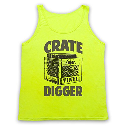Crate Digger Vinyl Junkie Tank-Top Weste Neon Gelb