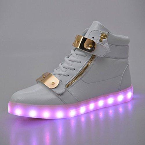 [+Piccolo asciugamano]Luci LED colorati bagliore e ricarica scarpe dargento nuovo scarpe casual USB maschio luminoso e di coppia scarpe femmin c43
