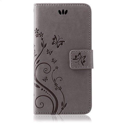 Handy Tasche Handyhülle Wallet Schutz Hülle Blumen Flip Cover Buch Case Etui von ZhinkArts für Apple iPhone 5 / 5s / SE Pink Pink