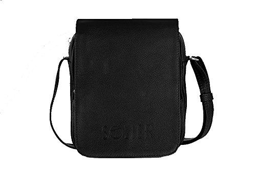 Solier Echte Leder Herren Schulter Tablet iPad Tasche Premium SL32 Schwarz