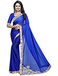 TRYme Fashion Women's Silk Georgette Party Wear Saree With Blouse Piece