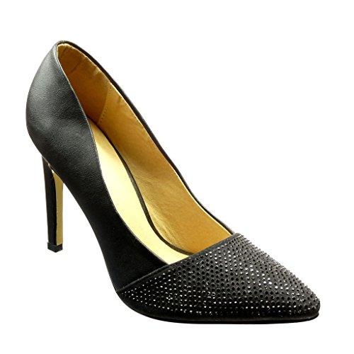 Angkorly - Scarpe Moda scarpe decollete stiletto donna strass Tacco Stiletto alto 11 CM Nero